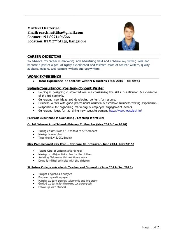 sample resume content writer professional resumes example online
