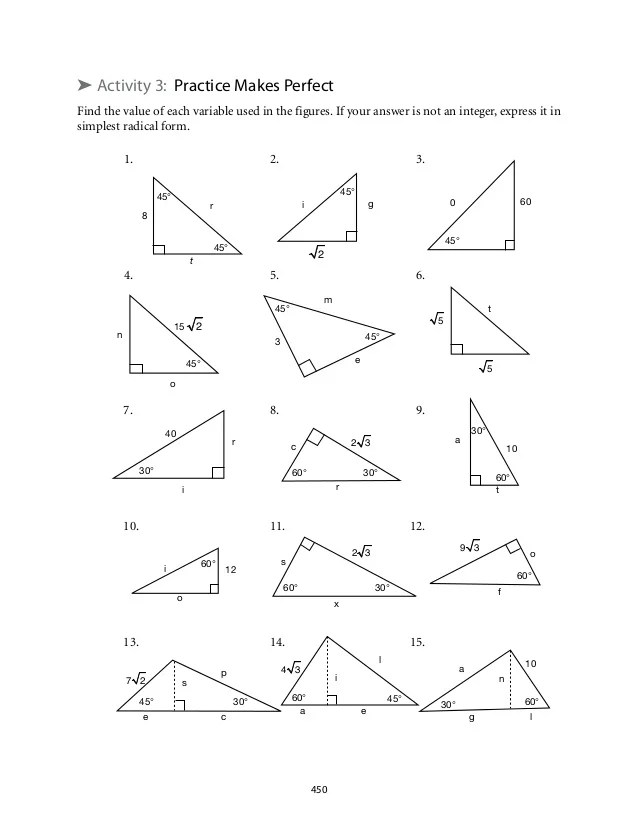 special right triangles worksheet 30 60 90 answers worksheets releaseboard free printable. Black Bedroom Furniture Sets. Home Design Ideas