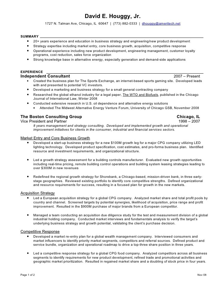 Resume Tips Bcg | Example Good Resume Template
