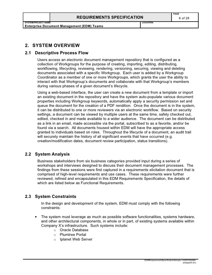 Business Requirements Specification Template - Eliolera - sample requirement analysis