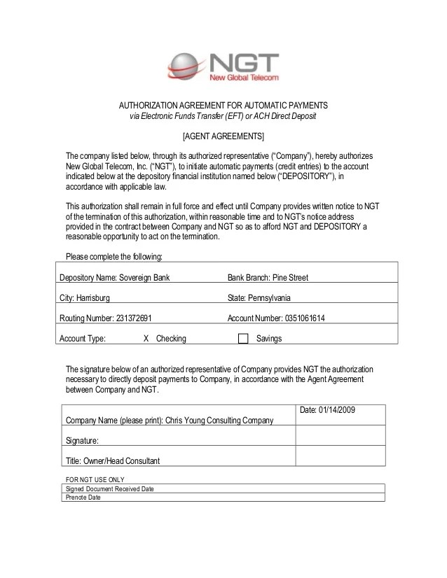 Eft Authorization Form Template ach authorization form template - authorization template