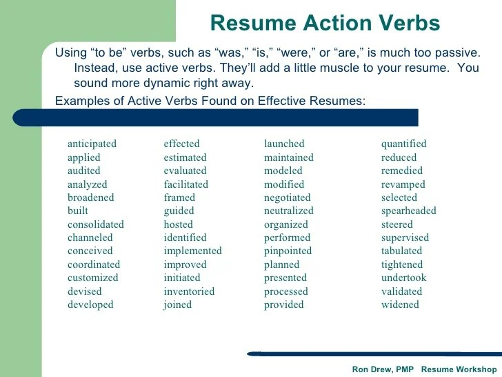 action verbs for resume qualifications