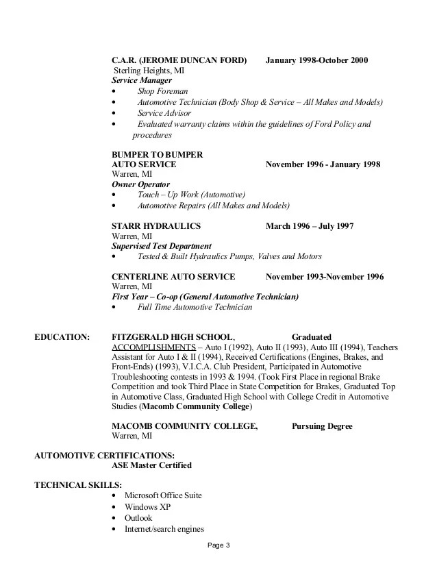 Resume For Auto Body Shop   Sample Document Resumes
