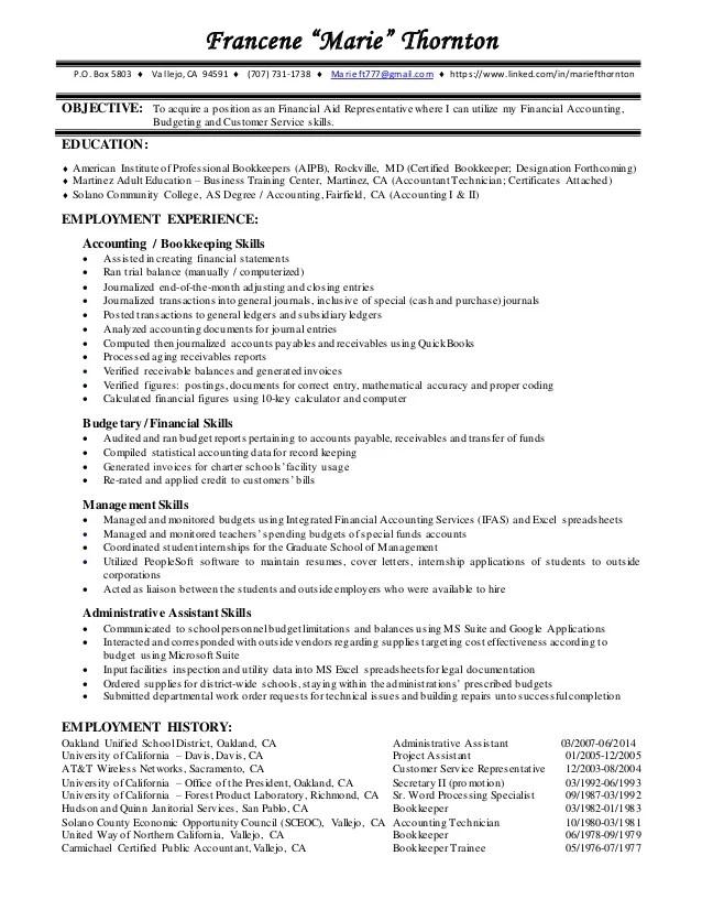 financial aid resume - Goalgoodwinmetals