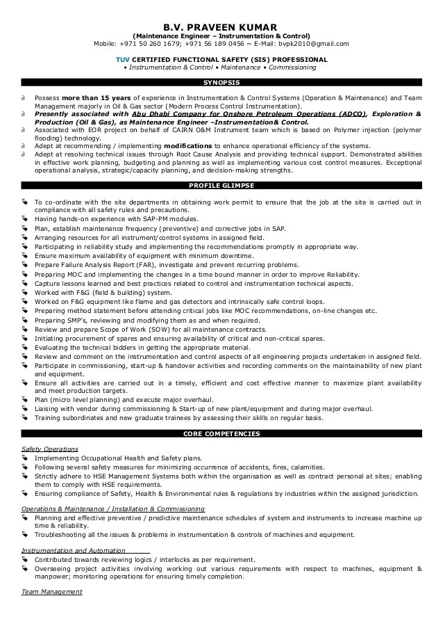 reliability engineer resumes - Minimfagency - instrumentation and control engineer sample resume