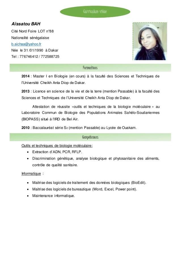 competence cv master biologie