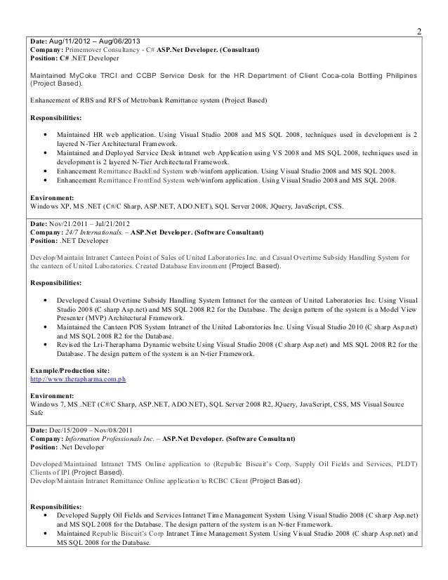 windows server 2012 sample resume