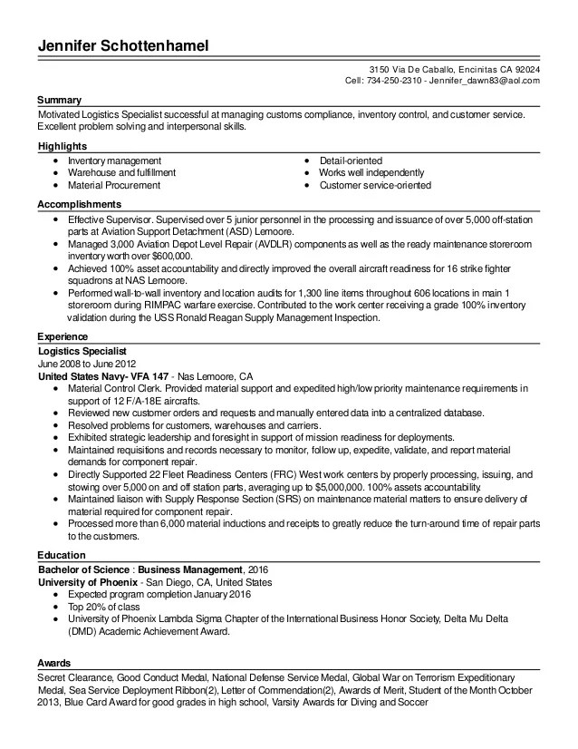 Automated Logistic Specialist Resume  NodeCvresume