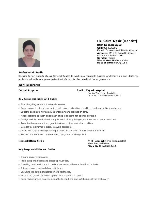 dentist cv - Eczasolinf - general dentist resume