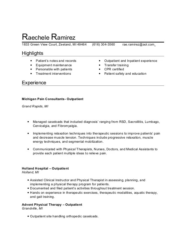 pta resume - Doritmercatodos - Physical Therapy Assistant Resume