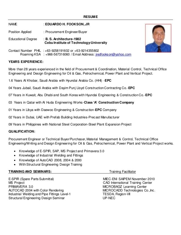resume format purchase engineer