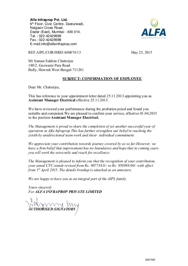 Salary Confirmation Letter – Salary Increment Sample Letter