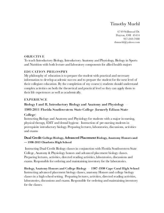 biology resume - Mucotadkanews