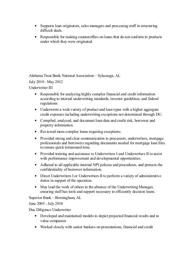 underwriter resume - Towerssconstruction