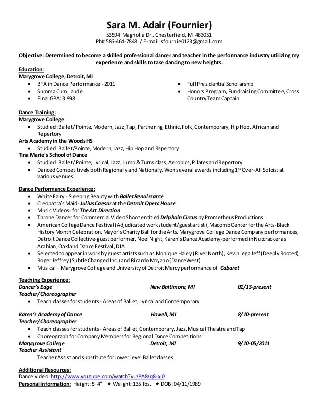 Dancer Resume Sample Event Planning Template Professional