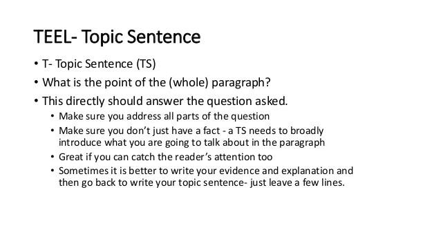 Teel Topic Sentence