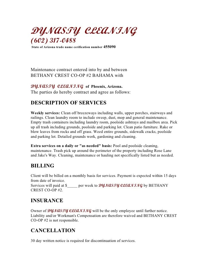 Sample Cleaning Contract Template | Professional Reference Letter
