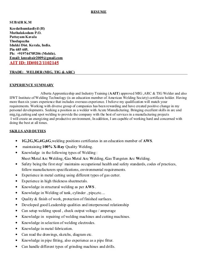 mig welder resume examples radiovkm