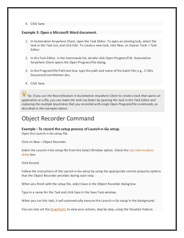 automation anywhere resume sample