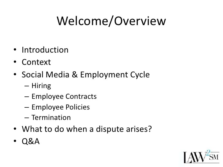 Social Media and Employment Issues