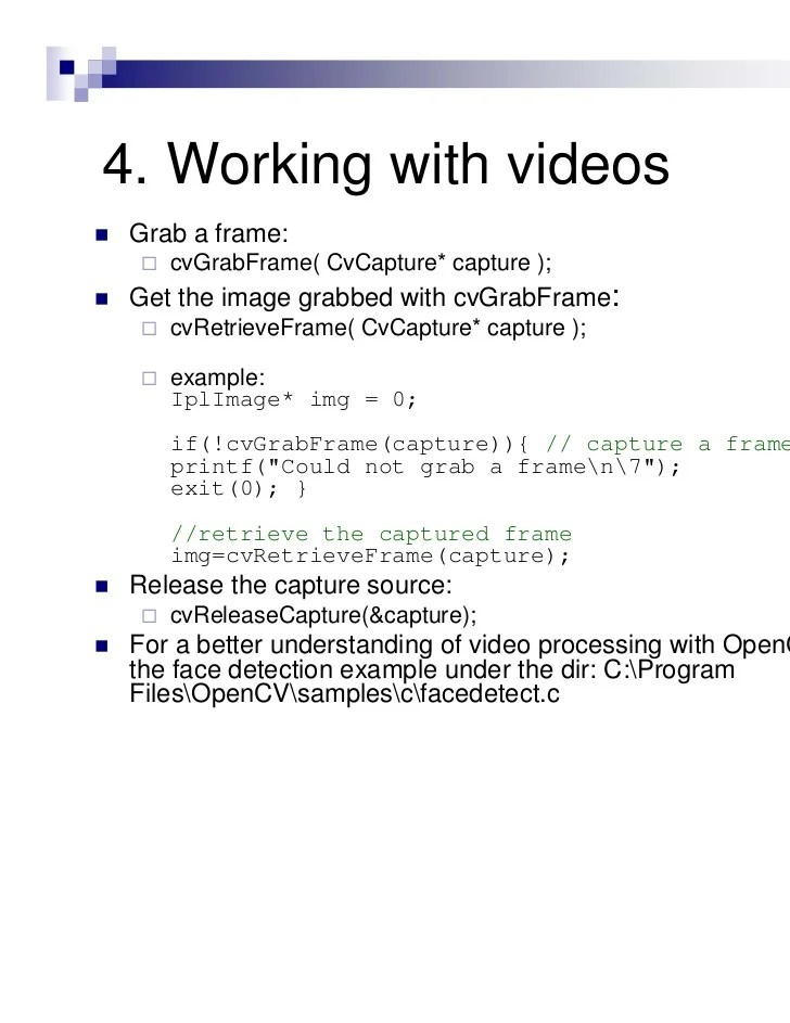 open cv capture camera example