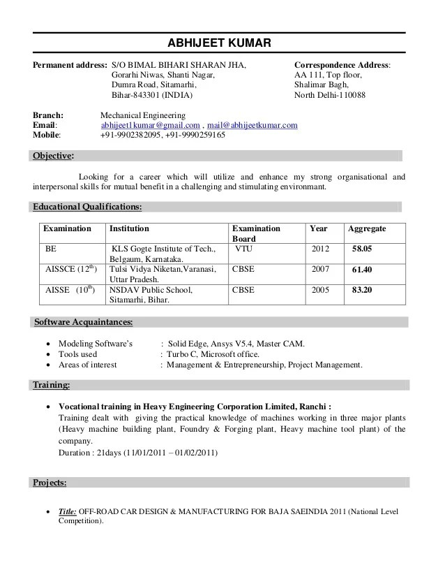sample resume for diploma in mechanical engineering - Funfpandroid