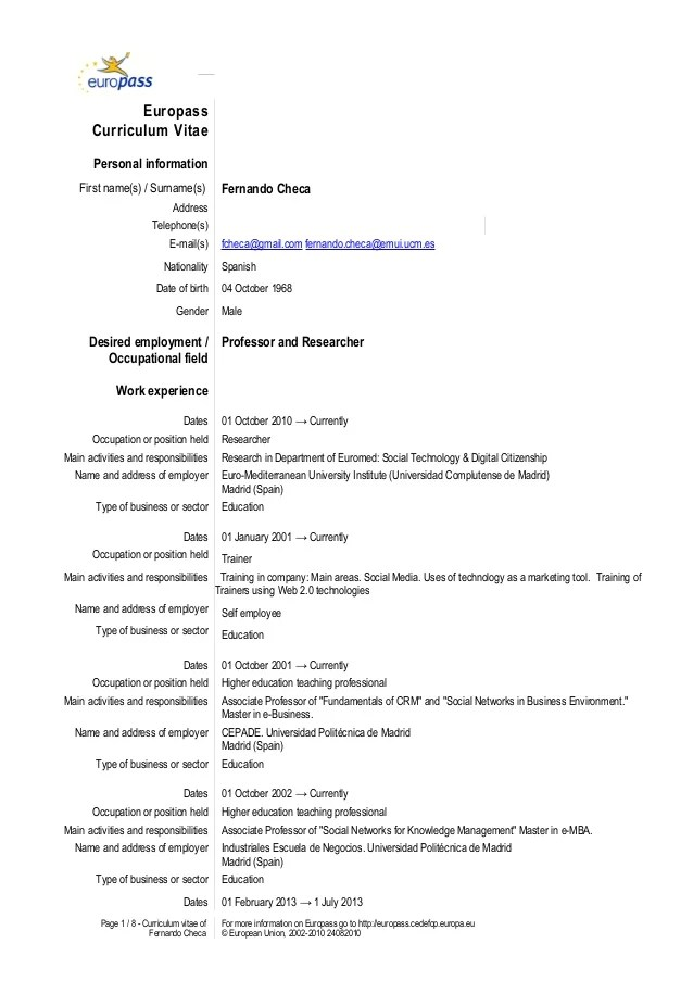 example of a spanish cv