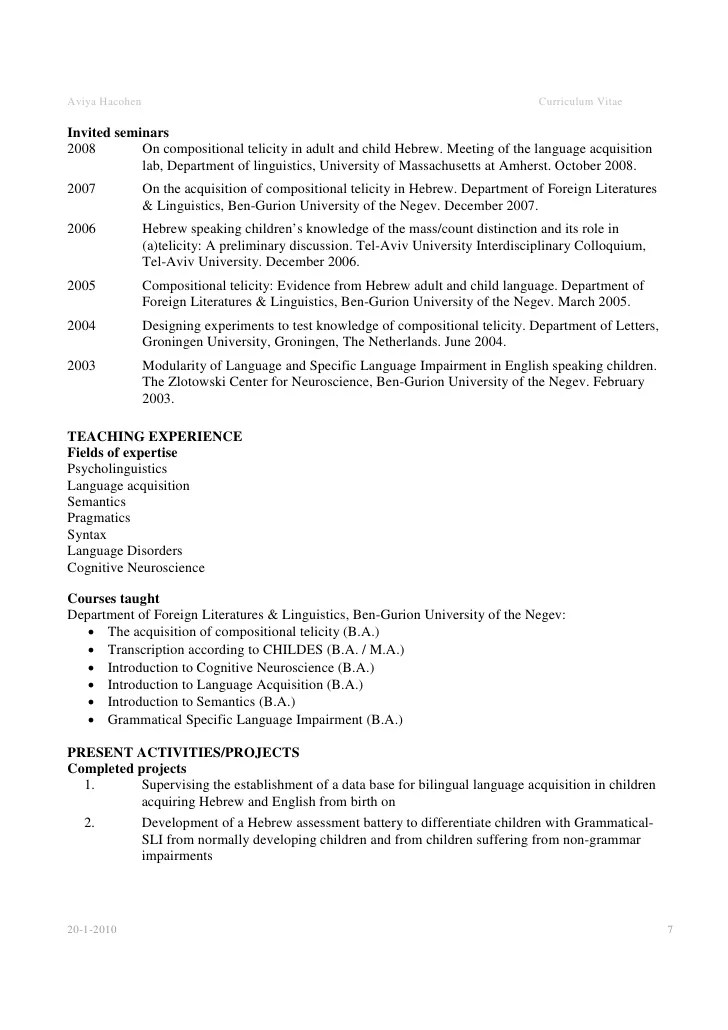 Sample Of Curriculum Vitae Academic Curriculum Vitae O Cv Academic Cv Example