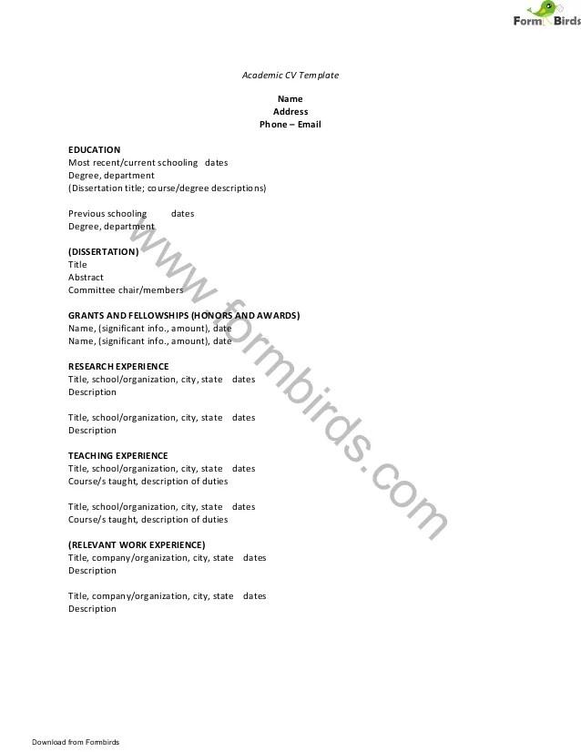 academic cv template - Alannoscrapleftbehind