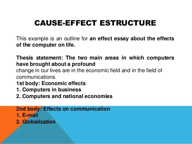 Cause effect essay ideas