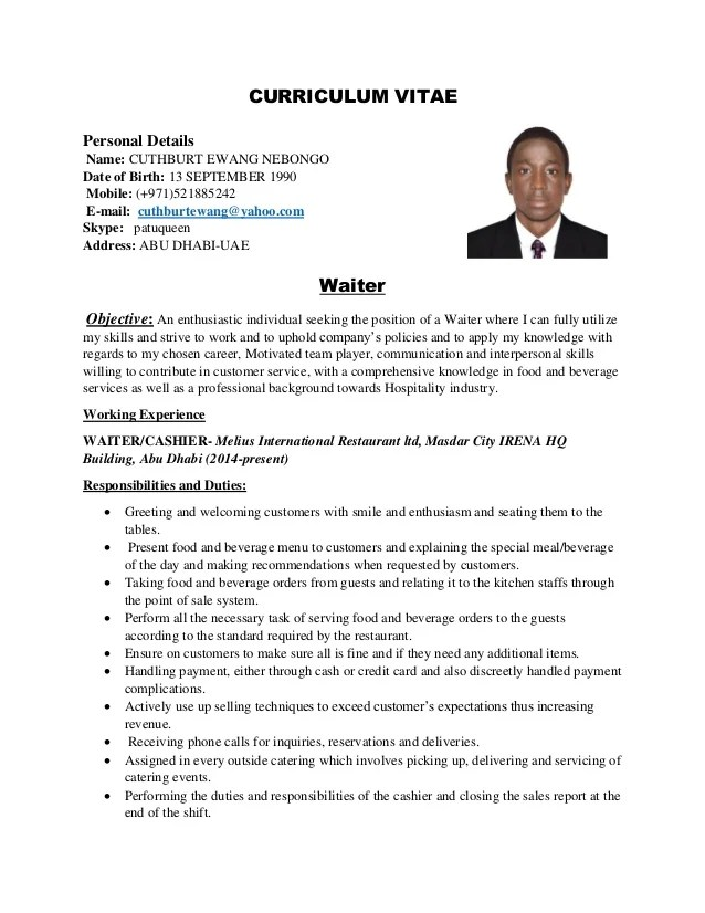 cv for waiter - Bire1andwap - waitress description for resumes