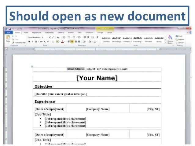 resume template word 2010 - Funfpandroid