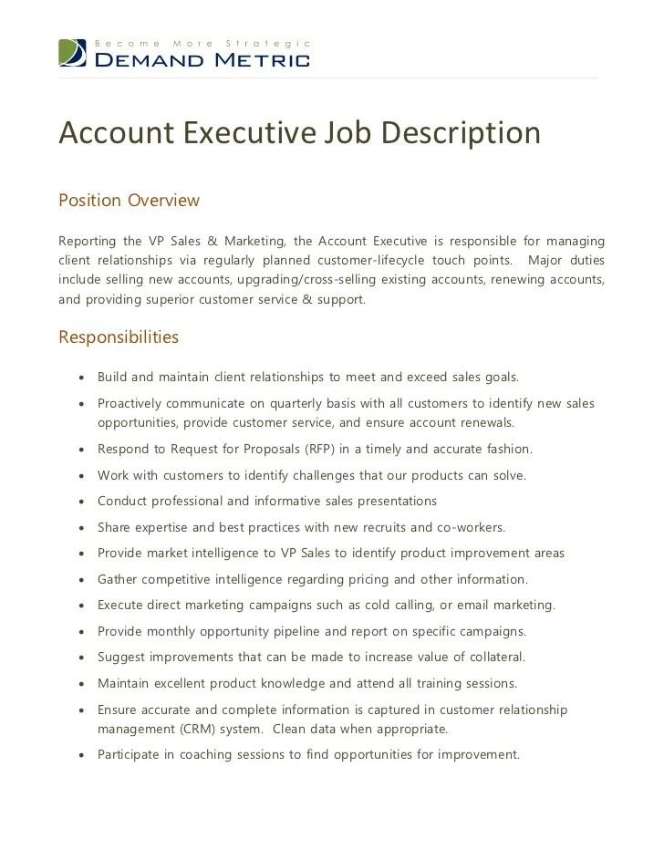 sales executive job description - Minimfagency - sales and marketing job description
