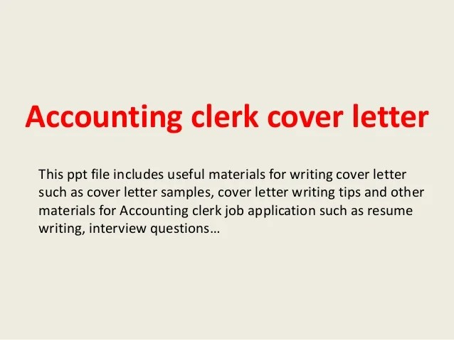 Cover Letter Samples For Different Careers Industries Accounting Clerk Cover Letter