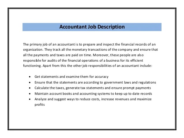 Job Description Assistant Manager Accounting – Accounting Manager Job Description