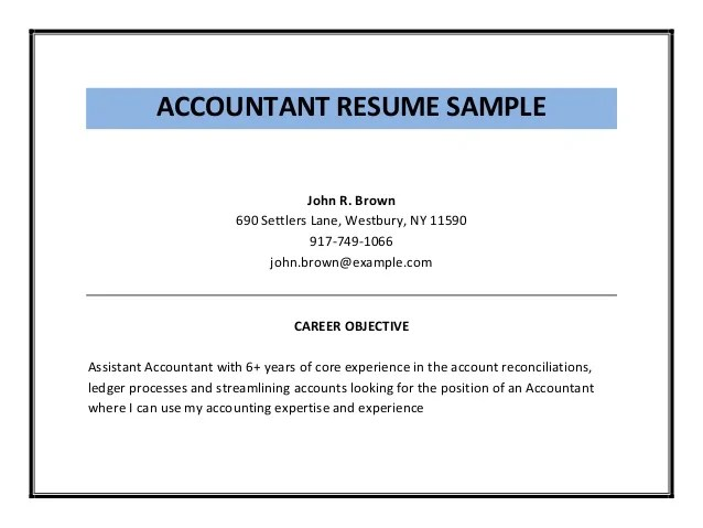 assistant accountant sample resume - Yelommyphonecompany