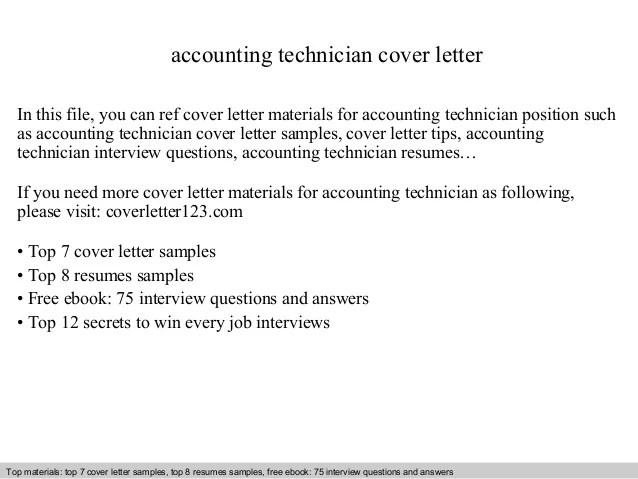 accounting technician cover letter - Goalgoodwinmetals