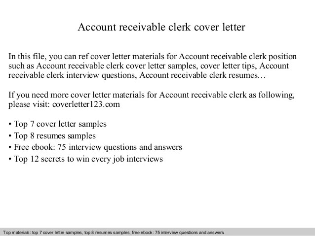 account receivable cover letter - Josemulinohouse - accounts receivable clerk sample resume