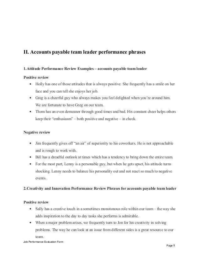 Performance Evaluation Form For A Team Leader  Free General Cover