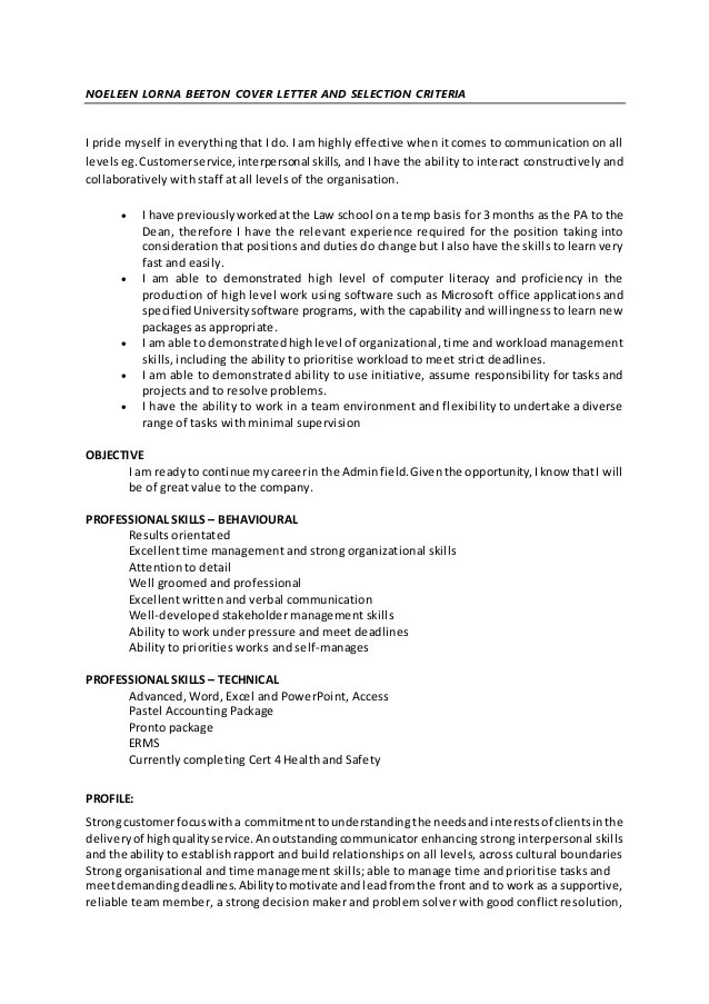 cover letter addressing selection criteria sample - Template