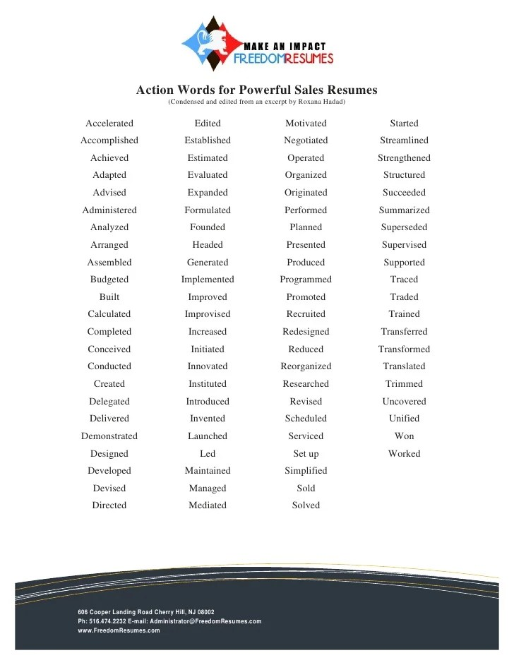 sales resume words - Towerssconstruction