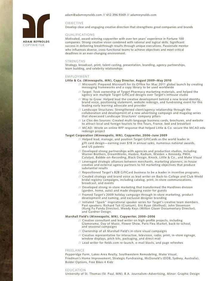 copywriter resume template