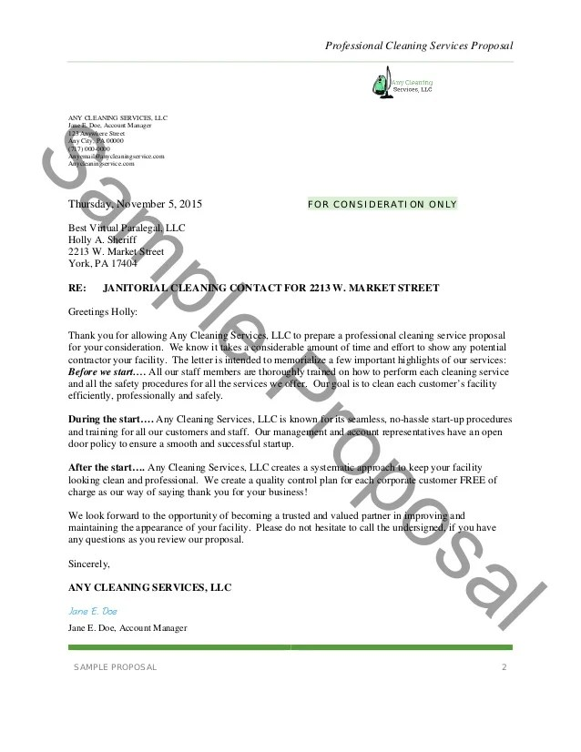 cleaning services proposal template - Onwebioinnovate - sample cleaning proposal template