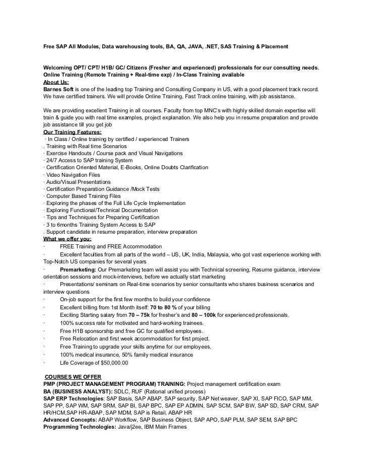 business objects cv