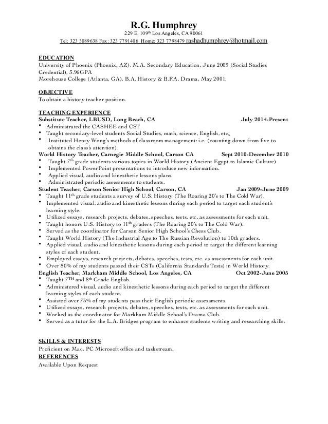 history teacher resumes - Onwebioinnovate - resume teacher