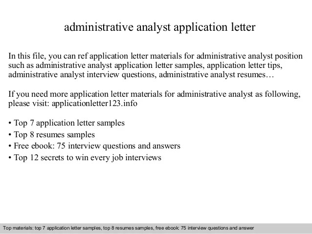 administrative analyst cover letter - Onwebioinnovate