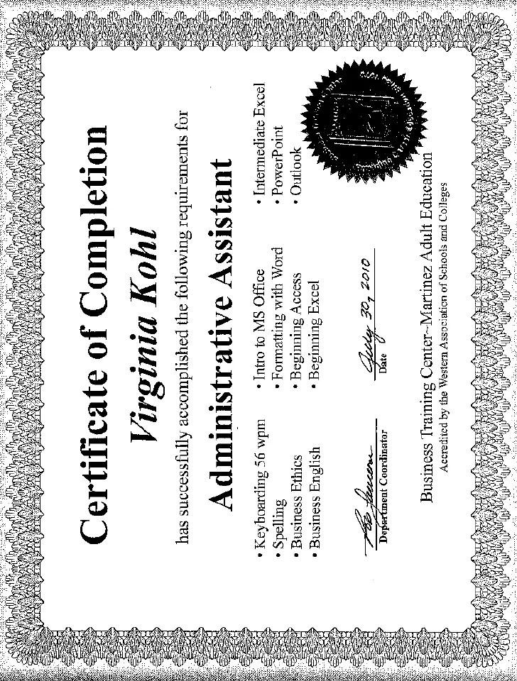 administrative professional certificate