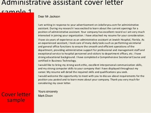 Management Cover Letter Example Sample Administrative Assistant Cover Letter