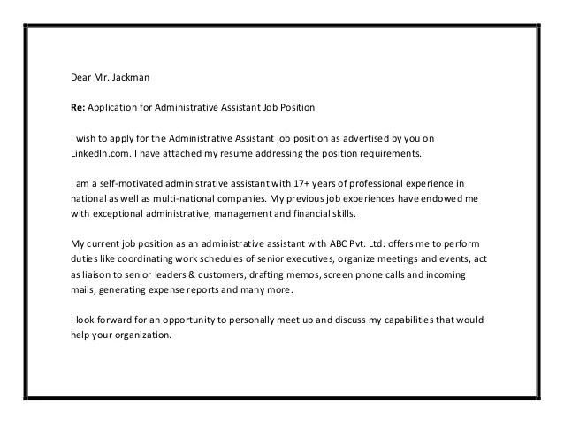 Heres A Real Life Example Of A Great Cover Letter With Administrative Assistant Cover Letter Sample