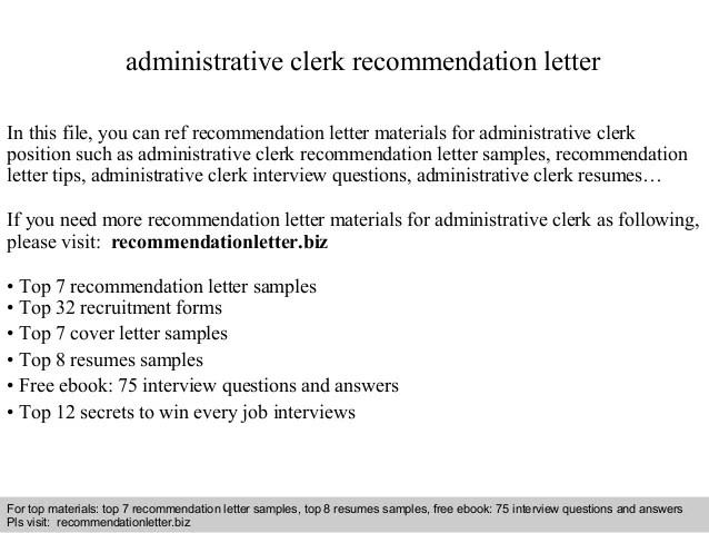 letter of recommendation for office clerk - Pinarkubkireklamowe